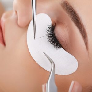 Eyelash infills being inserted